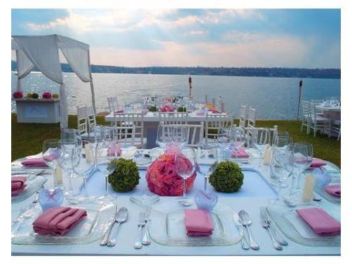 Montaje blanco con centro de mesa y detalles rosas