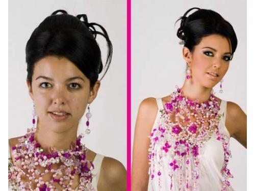 Antes y después de maquillaje y peinado