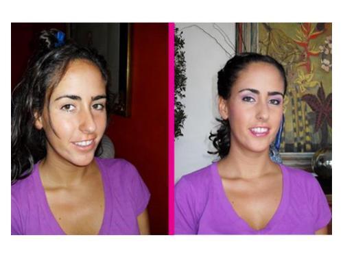 Antes y después: arreglo excelente de maquillaje para la novia