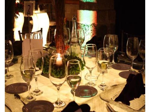 Centros de mesa iluminados con velas