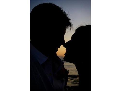 Románticas sombras de los enamorados