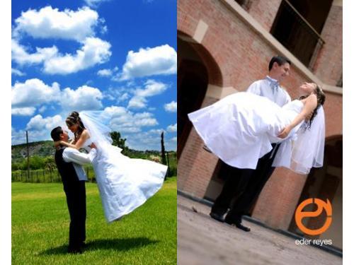 Novio cargando a la novia