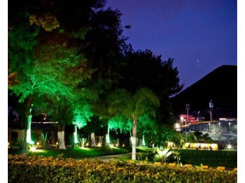 Hermoso jardín iluminado