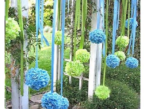 Pom pom flor de papel para exteriores