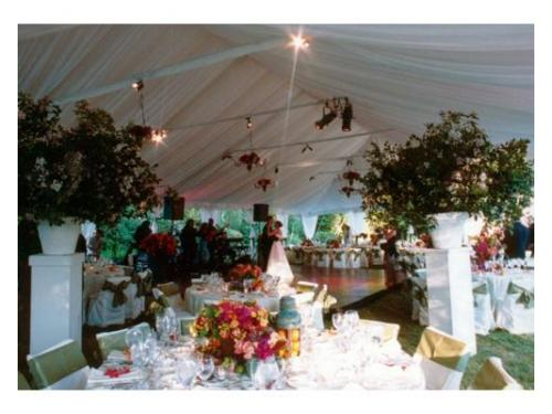 Carpa y montaje de mesas con flores